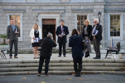 Peter Fitzpatrick, Carol Nolan, Ronan Mullen, Sharon Keogan and Mattie McGrath of the all-party Oireachtas Life and Dignity Group launching a document on late-term abortion and foetal pain. Photograph:  The Irish Times
