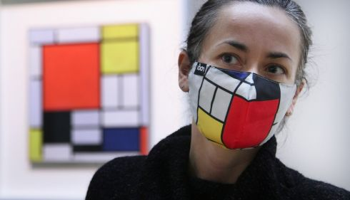 Gallery assistant Annett Kolaskaat at the National Gallery of Ireland for the the opening of landmark exhibition Mondrian. This exhibition is the first of the Dutch artist Piet Mondrian's work to be held in Ireland. Photograph: Bryan O Brien/The Irish Times
