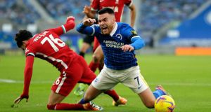 Brighton attacker Aaron Connolly from Galway in action against Liverpool. Photograph: Inpho