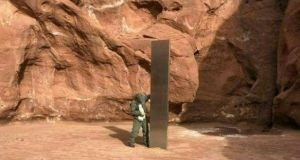 A video grab image from the Utah Department of Public Safety Aero Bureau shows a mysterious metal monolith that was discovered in Utah and was later removed. Photograph: Getty