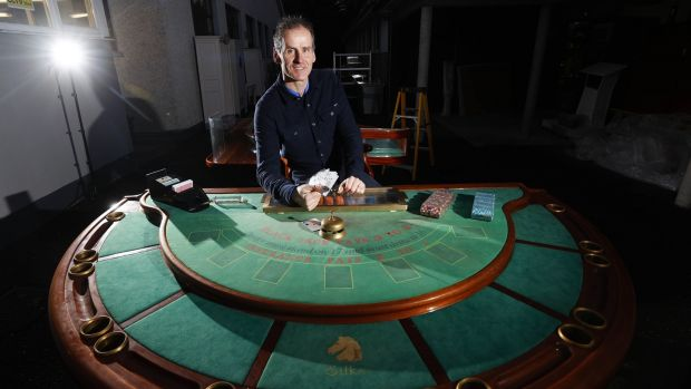 Auctioneer Niall Mullen at one of the high-end gaming tables from Silks casino.