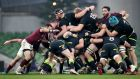 A scrum is disrupted during Ireland's win over Georgia. Photo: Gary Carr/Inpho