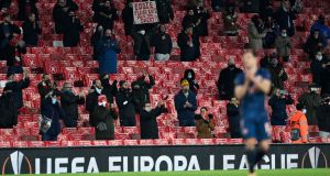 Arsenal fans during their team's win against Rapid Vienna at the Emirates Stadium. Photograph: EPA
