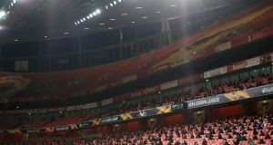 2,000 fans were present for Arsenal's win over Rapid Vienna on Thursday night. Photograph: Adam Davy/PA