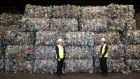 Pictured at the announcement in Dublin of Panda's 'bottle-to-bottle' plastic-recycling facility were Des Crinion, managing director, recycling, with Beauparc, and Minister for Environment Eamon Ryan. Photograph: Jason Clarke