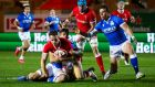 Kieran Hardy of Wales scores the opening try during the Autumn Nations Cup against Italy at  Parc y Scarlets. Photograph: Rogan Thomson/Inpho