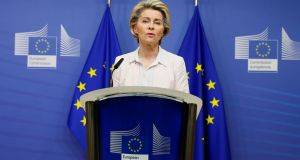 European Commission president Ursula von der Leyen gives a statement at the European Commission in Brussels. Photograph: Julien Warnand/Pool/AFP via Getty Images