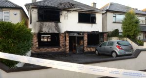 The scene of a house fire in Beach Park, Portmarnock, Co Dublin, where two people died. Photograph: Dara Mac Dónaill