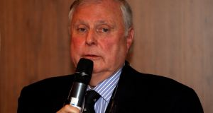 Peter Alliss addresses the room during the European Tour golfer of the year lunch  at the Royal Lancaster Hotel in London in  December 2011. Photograph: Andrew Redington/Getty Images