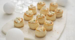 Crab vol-au-vents, apple and wasabi cream. Photograph:  Harry Weir