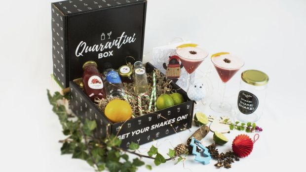 The Quarantini Box Christmas Cosmo kit by Catch Events.