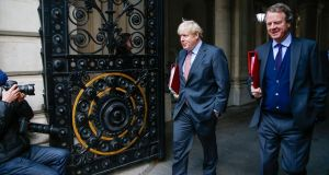British prime minister Boris Johnson departs from a weekly meeting of cabinet ministers before heading to Brussels  for urgent talks with European Commission president Ursula von der Leye. Photograph: Hollie Adams/Bloomberg