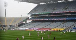 Galway take on Cork at Croke Park in the moved All-Ireland semi-final. Photograph: Ramsey Cardy/Sportsfile