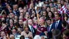 Sarah Dervan lifts the O'Duffy Cup in 2019 - Galway are back in the final once again. Photograph: Bryan Keane/Inpho