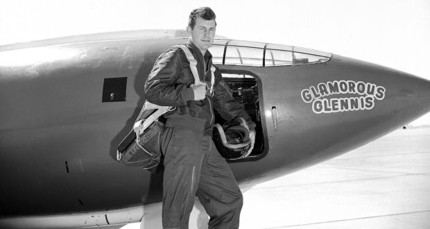 An undated photo provided by the US air force shows Chuck Yeager with the Bell X-1 plane he flew to break to sound barrier. Photograph: US Air Force Photo via The New York Times