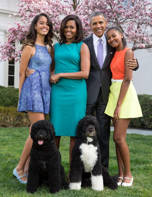 Barack Obama with his wife, Michelle, and their daughters, Malia and Sasha, in 2015. Photograph: Pete Souza/White House
