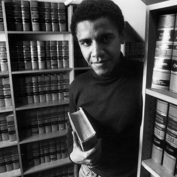 Barack Obama in the office of The Harvard Law Review in 1990. Photograph: Lane Turner/Boston Globe via Getty