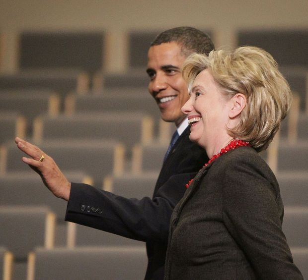 Barack Obama with Hillary Clinton at the UN Climate Change Conference in Copenhagen in 2009. Photograph: Peter Macdiarmid/Getty