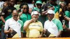 African National Congress (ANC) president Cyril Ramaphosa (right) toasts with former president Jacob Zuma (centre) and secretary general Ace Magashule (left) during the ANC's 107th anniversary celebrations at the Moses Mabhida Stadium in Durban on January 12th, 2019. Photograph:  Rajesh JantilaL/AFP/Getty