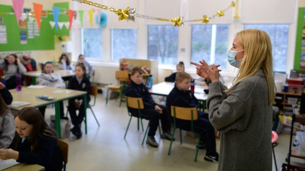 Karen Whooley teaching sixth-class students at St Audoen's National School, Cook Street, Dublin. Photograph: Dara Mac Dónaill/The Irish Times