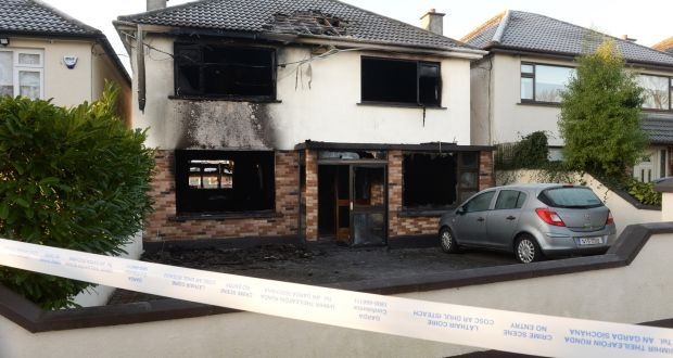 Dublin Fire Brigade was called to the scene of a fire at the Hurley family's home in Portmarnock at 9.45pm last Saturday. Photograph: Dara Mac Donaill/The Irish Times.