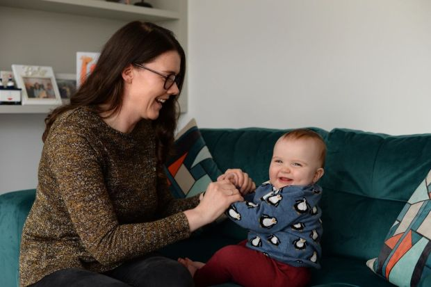 Ruth Cullinane with baby Úna at home in Palmerstown, Dublin. Photograph: Dara Mac Dónaill / The Irish Times