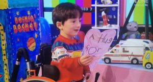 Adam King from Cork  explained his drawing of a 'virtual hug' when he appeared on the RTÉ Late Late Toy Show recently. Photograph: Andres Poveda.