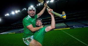 Limerick's Aaron Gillane and Diarmaid Byrnes celebrate the All-Ireland victoryat Croke Park. Photograph: Tom Honan