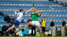 Waterford's Jamie Barron and Limerick's Tom Morrissey tussle for the sliotar. Photograph: Tommy Dickson/Inpho