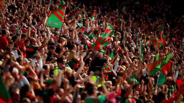 Mayo supporters at Croke Park during their 2017 semi-final win over Kerry. Photograph: James Crombie/Inpho