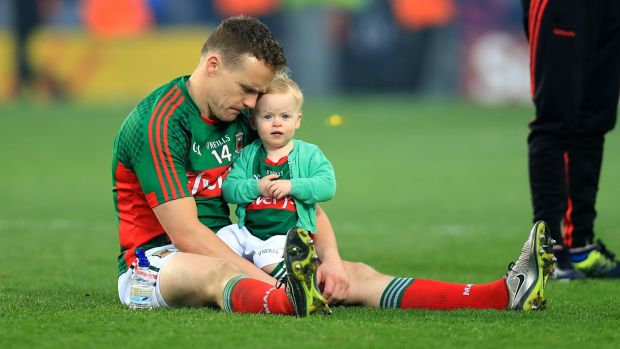 Andy Moran with his daughter Charlotte after Mayo's final replay defeat in 2016. Photograph: Donall Farmer/Inpho