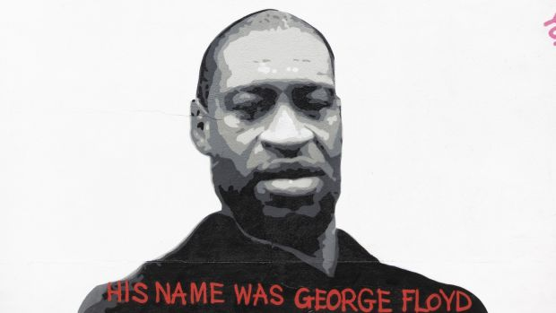 Mural in Kingswood, Dublin, of George Floyd by artist Emmalene Blake: Floyd was killed by police on a street in Minneapolis. Photograph: Tom Honan