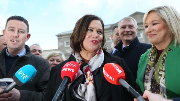 Sinn Féin leader Mary Lou McDonald with elected colleagues: The party made huge strides in the election. Photograph: Nick Bradshaw