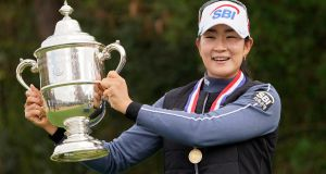 A Lim Kim celebrates her US Open win. Photograph: David J Phillip/AP