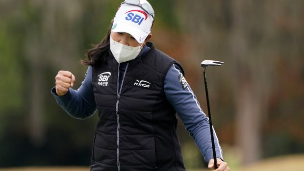 A Lim Kim reacts after making a birdie on the 18th in Houston. Photograph: Eric Gay/AP