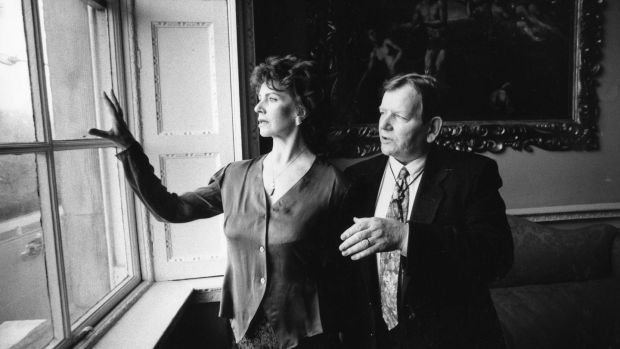 Edna O'Brien with Prof Augustine Martin at Newman House, Dublin, before delivering a lecture in 1993. Photograph: Joe St Leger