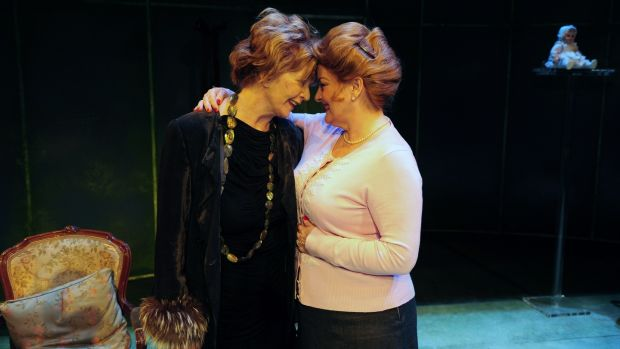 Edna O'Brien in The Gaiety Theatre, Dublin with actor Brenda Blethyn during a photocall for her play Haunted in 2010. Photograph: Aidan Crawley