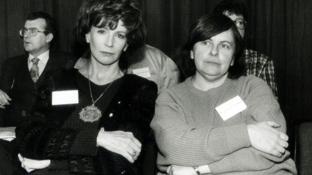 Edna O'Brien and Bernadette McAliskey at the Forum for Peace and Reconciliation in Dublin Castle in 1995. Photograph: Matt Kavanagh