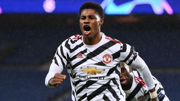 Manchester United's Marcus Rashford raised awareness around the need for school lunches to continue for some children in England. Photograph: Franck Fife/AFP via Getty Images