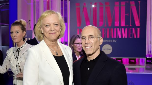 Meg Whitman (centre, left) and Jeffrey Katzenberg's Quibi did not succeed. Photograph: Stefanie Keenan/Getty Images for The Hollywood Reporter