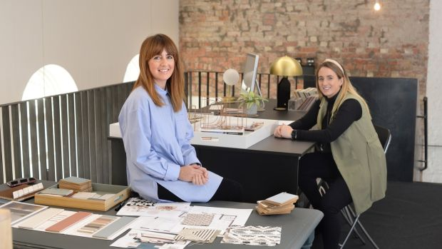 Tonya Douglas-Newell and Michaela Newell, (right) at their office, Little Design House, Interior designer in Monaghan, Co Monaghan. Photograph: Dara Mac Dónaill
