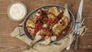 Chopped roast chicken, aioli, red pepper and anchovy dressing.