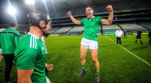 Limerick's Peter Casey and Sean Finn celebrate after beating Waterford to win the All-Ireland SHC. Photo: Ryan Byrne/Inpho