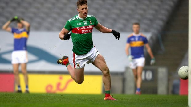 Mayo's Cillian O'Connor scores his side's third goal of the game in the All-Ireland SFC semi-final against Tipperary at Croke Park on December 6th. Photograph: Ryan Byrne/Inpho