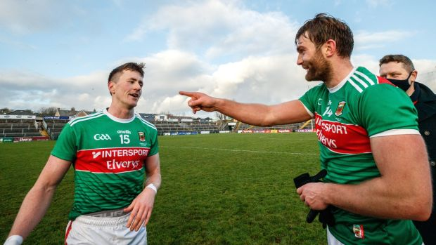 Cillian O'Connor and Aidan O'Shea celebrate Mayo's win in the Connacht SFC final against Galway at Pearse Stadium in Salthill. Photograph: James Crombie/Inpho