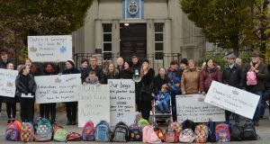Parents and children protesting outside Scoil Colm in Crumlin in 2019 over the lack of school places for special needs children in south Dublin. Photograph: Alan Betson
