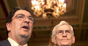 SDLP leader John Hume with party colleague Seamus Mallon. Hume was concerned that the British government, particularly in the run-up to the Westminster general election, would be 'unable to engineer forward movement'. File photograph: Reuters