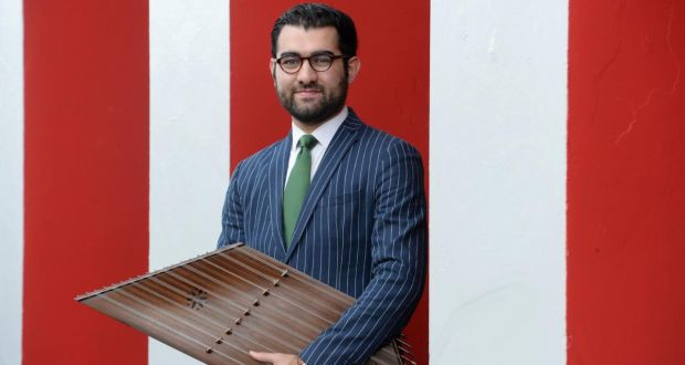New to the Parish: Shahab Coohe, who is now a member of the popular band Navá, with his santoor. Photograph: Alan Betson
