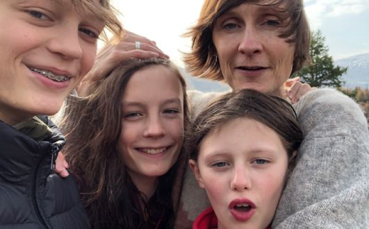Claire McAree with her children Arthur, Milo and Tilda in Oslo