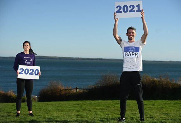 Thomas (right) and Jessie Barr at the launch of the Irish Life Health Runuary Campaign in Dunmore East, Waterford. Photograph: Sam Barnes/Sportsfile
